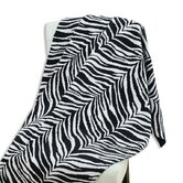 Zebra Black Charcoal Topstitched Throw