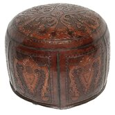Colonial Large Leather Ottoman