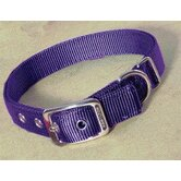 Double Thick Nylon Deluxe Dog Collar in Hot Purple
