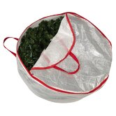Storage and Organization 30&quot; Circular Wreath Bag with Red Trim