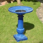 Athena Blue Ceramic Solar on Demand Birdbath