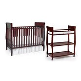 Sarah Classic Two Piece Convertible Crib Set in Cherry