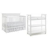 Lauren Classic Two Piece Convertible Crib Set in White