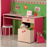 Miss Griotte Desk in White Stained Pine / Raspberry