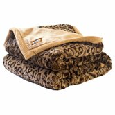 Leopard Faux Fur Throw Blanket with Cinnamon Accents and Camel Color Lining