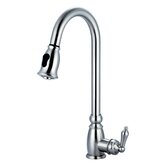 One Handle Single Hole Mount Kitchen Faucet with Pull Down Spray