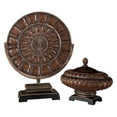 Charger Plate and Decorative Box Set in Rustic Bronze