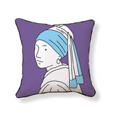 Girl with Pearl Earring Double Sided Cotton Pillow