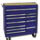 "40""Blue 11-Drawer Roller Cabinet- Rlr Bearing"