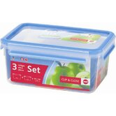 Emsa 3D Food Storage 3 Piece Clip and Close Container Set