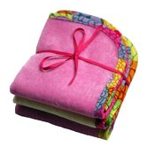Plush Wash Cloths Set in Pink Lemonade Terry with Mille Fleur Trim (Set of 3)
