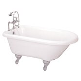 54&quot; Roll Top Acrylic Clawfoot Bath Tub with Rim Holes