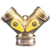 Sprinkler Hose Adaptor Dual Outlet In Gold Brass