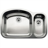 Wave 1 1/2 Bowl Undermount Kitchen Sink