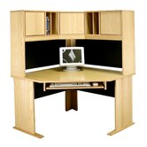 "Modular Real Oak Wood Veneer 48"" W Panel Corner Desk Suite"