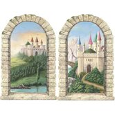Enchanted Kingdom Pre-Pasted Castle Windows in Multi (Set of 2)