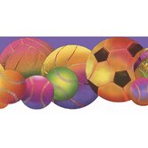Whimsical Children's Vol. 1 Neon Sports Balls Die-Cut Border in Purple