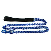 Steel Dog Leash in Blue with Black Nylon Handle