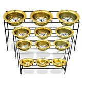 Triple Diner Stand with Stainless Steel Pet Bowl