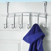 Chrome Over the Door Cambridge Coat Rack with Ceramic Knobs
