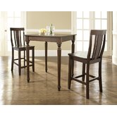 Three Piece Pub Dining Set with Turned Leg Table and Shield Back Barstools in Vintage Mahogany