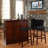 "Mobile Folding Bar in Vintage Mahogany with 29"" Upholstered Saddle Stool in Mahogany"