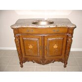 "40"" Brass Sink Bathroom Vanity in Brown"
