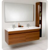 Largo Modern Bathroom Vanity with Wavy Double Sinks