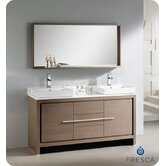 "Allier 60"" Modern Double Sink Bathroom Vanity with Mirror"