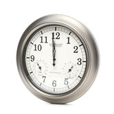 18&quot; Pewter Analog Atomic Wall Clock with Thermometer and Hygrometer