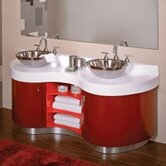 "Artemisa 61"" Bathroom Double Vanity in Red with Sinks"