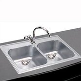 Elumina Self-Rimming Stainless Steel Double Sink with Four Holes - 33&quot; x 22&quot; with Optional Cutting Board