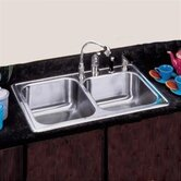 "22""x 33"" Self Rimming Stainless Steel Double Bowl Kitchen Sink"