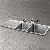 "Gourmet 22""x48"" 3-Hole Self Rimming Double Bowl Right Handed Kitchen Sink with Optional Chrome Plated Basket Strainer"