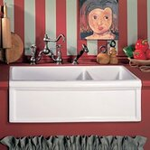Luberon Fireclay Double Apron Front Farmhouse Sink with Drain