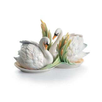 Franz Collection Swan Lake Swan Porcelain Salt & Pepper Shaker Set