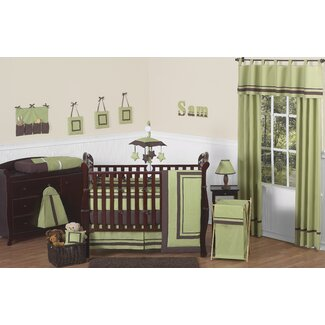 Sweet Jojo Designs Hotel Green and Brown Collection 9pc Crib Bedding Set