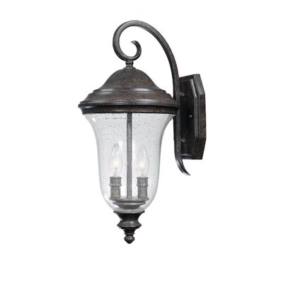 Capital Lighting Dawson Two Light Outdoor Wall Lantern with Seeded Glass Shade in New Tortoise