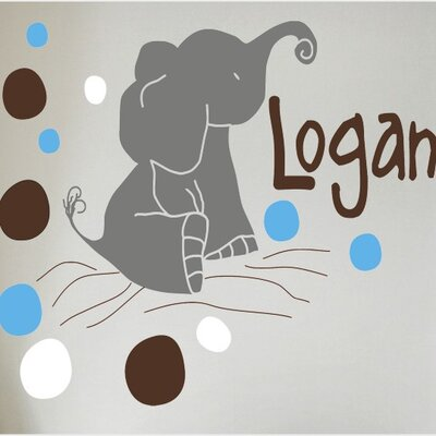 Alphabet Garden Designs Elephant Dots Wall Decal