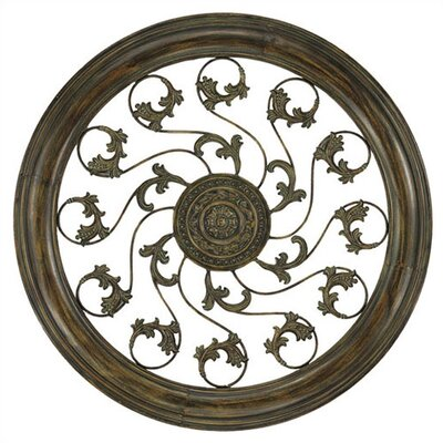 Aged Round Vine Medallion Metal Art