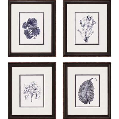 "Paragon Indigo Kelp by Unknown Waterfront Art - 21"" x 18"" (Set of 4)"