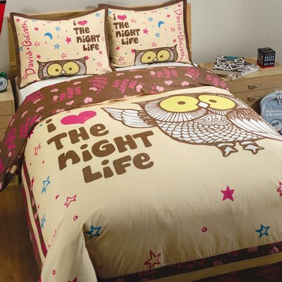 David & Goliath Night Life Duvet Set in Cream and Brown