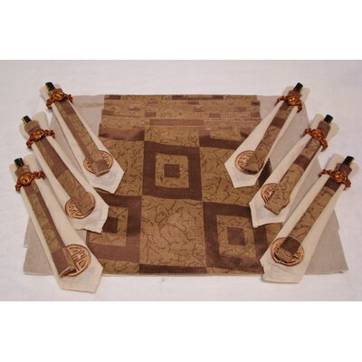 Textiles Plus Inc. Poly Silk Jacquard Placemat in Golden Square (Set of 6)