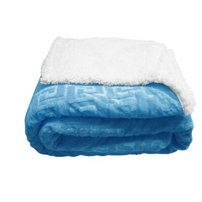 Textiles Plus Inc. Mink Greek Key Textured Sherpa Polyester Throw