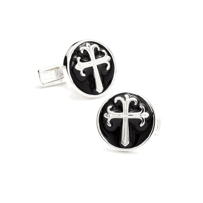 Round Enamel Cross Cufflinks