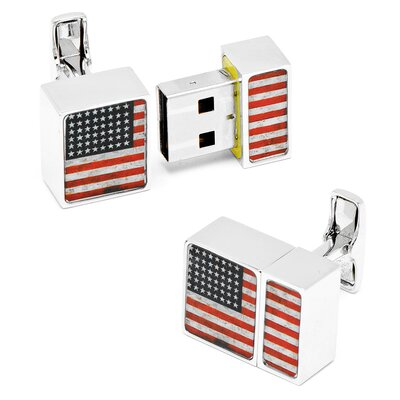 4GB Distressed USA Flag USB Cufflinks