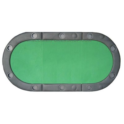 JP Commerce Padded Texas Hold'em Folding Poker Table Top with Cup Holders in Green