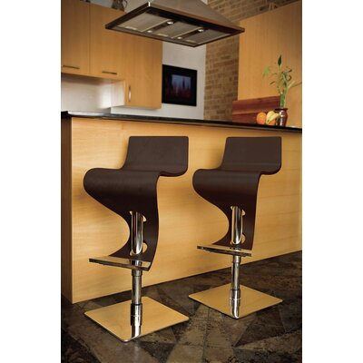 "LumiSource Viva 28"" Bar Stool in Dark Brown Wood"