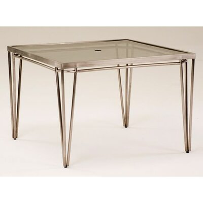 Klip Square Glass Top Dining Table with Umbrella Hole