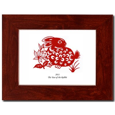 "Oriental Design Gallery 5"" x 7"" Red Mahognany Frame with Year of the Rabbit Print 01H"